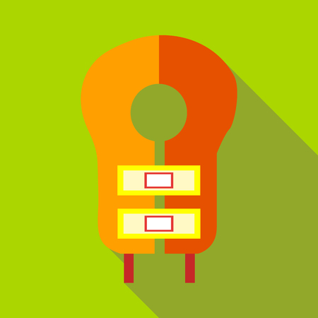 Orange lifevest icon in flat style on a green background