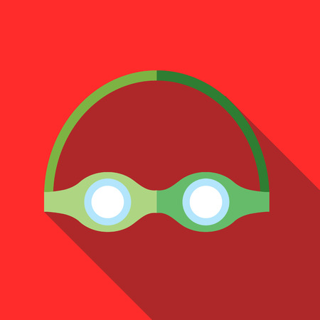 eye drops: Swimming goggles icon in flat style on a red background