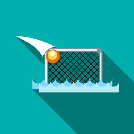 Water polo gates and ball icon in flat style on a turquoise background Illustration