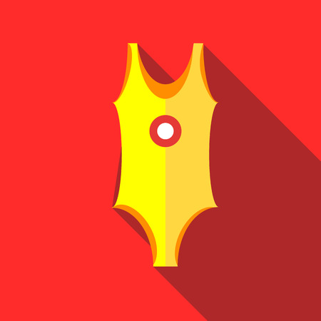bikini top: Yellow swimsuit icon in flat style on a red background