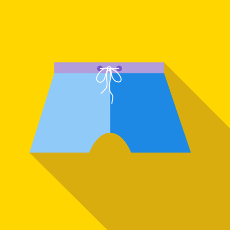 swim wear: Blue swim trunks icon in flat style on a yellow background Illustration