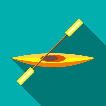 team effort: Canoe icon in flat style on a turquoise background Illustration