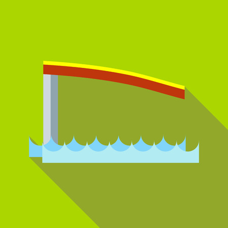 diving board: Springboard icon in flat style on a green background