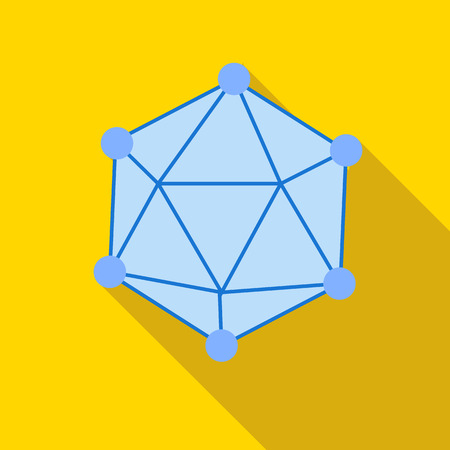 the polyhedron: Polyhedron icon in flat style on a yellow background