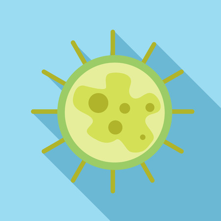 Virus icon in flat style on a light blue background