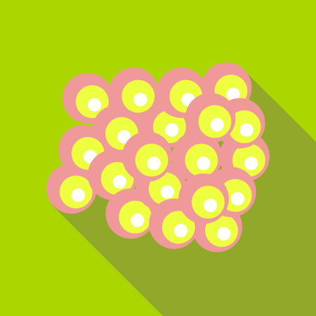 Group of viruses icon in flat style on a green background Illustration