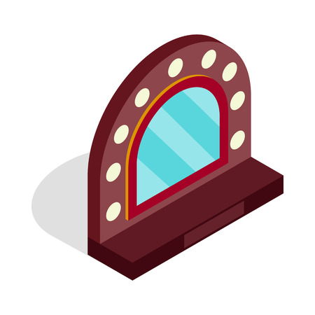 Mirror with bulbs for makeup icon in isometric 3d style on a white background