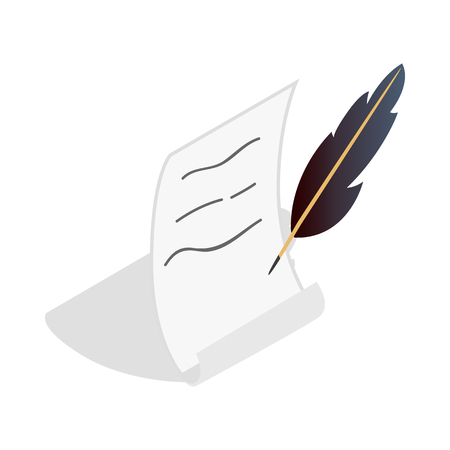 Feather and scroll icon in isometric 3d style on a white background Illustration