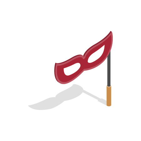 Red mask on a stick icon in isometric 3d style on a white background