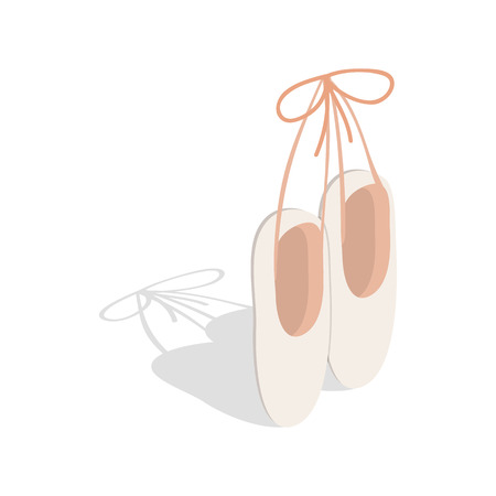 Ballet pointe shoes icon in isometric 3d style on a white background