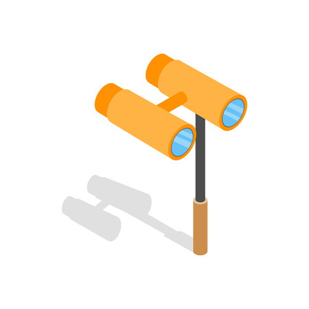 antic: Opera glasses icon in isometric 3d style on a white background