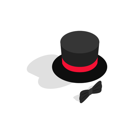top black hat: Black top hat and bow tie icon in isometric 3d style on a white background