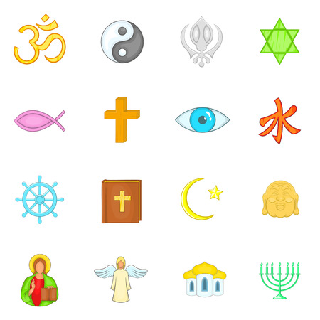 jain: Religion icons set in cartoon style. Culture set isolated vector illustration