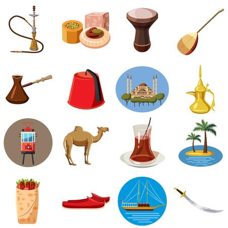 saz: Cartoon Turkey icons set. Universal Turkey icons to use for web and mobile UI, set of basic Turkey elements isolated vector illustration Illustration