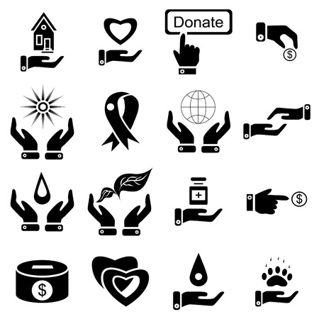 philanthropist: Simple charity icons set. Universal charity icons to use for web and mobile UI, set of basic charity elements vector illustration Illustration