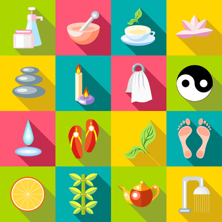 papering: Flat spa icons set. Universal spa icons to use for web and mobile UI, set of basic spa elements vector illustration