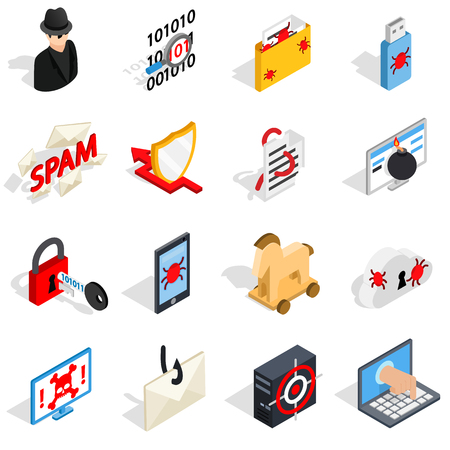 email bomb: Isometric 3d hacking icons set. Universal hacking icons to use for web and mobile UI, set of basic hacking elements isolated vector illustration