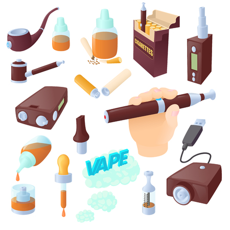 vaporized: Cartoon electronic cigarettes icons set. Universal electronic cigarettes icons to use for web and mobile UI, set of basic electronic cigarettes elements isolated vector illustration