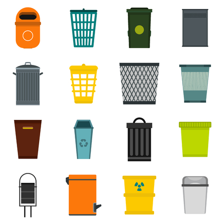 trashing: Flat trash can icons set. Universal trash can icons to use for web and mobile UI, set of basic trash can elements isolated vector illustration