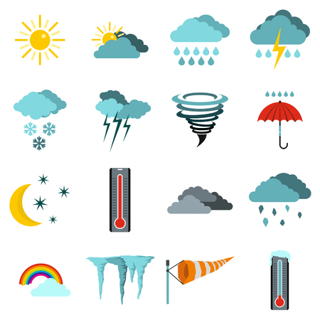 Flat weather icons set. Universal weather icons to use for web and mobile UI, set of basic weather elements isolated vector illustration