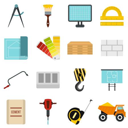 pinzas: Iconos de construcción planas. iconos universales de construcción a utilizar para la web y la interfaz de usuario móvil, un conjunto de elementos básicos de construcción aisladas ilustración vectorial Vectores