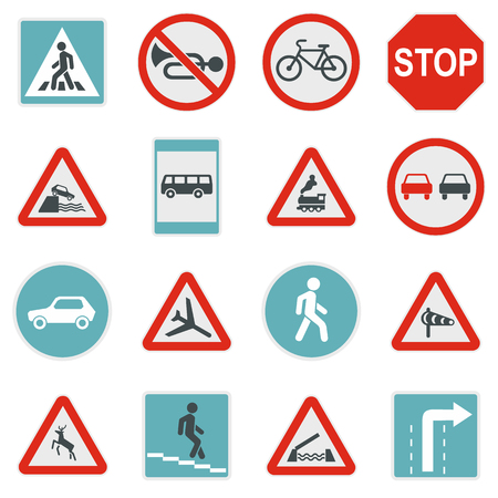 Flat road sign icons set. Universal road sign icons to use for web and mobile UI, set of basic road sign elements isolated vector illustration