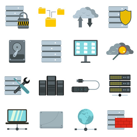 cylinder lock: Flat database icons set. Universal database icons to use for web and mobile UI, set of basic database elements isolated vector illustration Illustration