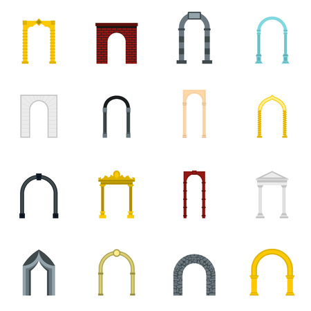 viaduct: Flat arch icons set. Universal arch icons to use for web and mobile UI, set of basic arch elements isolated vector illustration