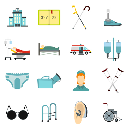 wheelchair users: Flat disabled people care icons set. Universal disabled people care icons to use for web and mobile UI, set of basic disabled people care elements isolated vector illustration Illustration
