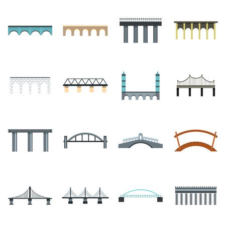 viaduct: Flat bridge icons set. Universal bridge icons to use for web and mobile UI, set of basic bridge elements isolated vector illustration