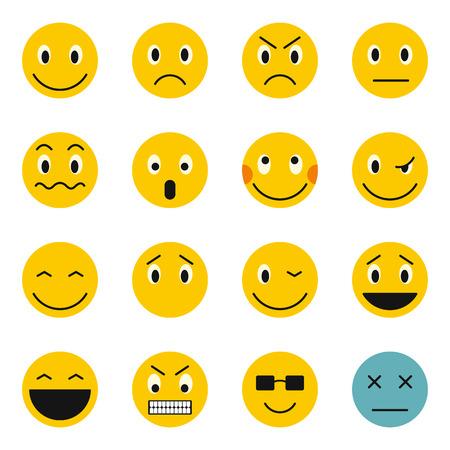 scheming: Flat emoticon icons set. Universal emoticon icons to use for web and mobile UI, set of basic emoticon elements isolated vector illustration Illustration