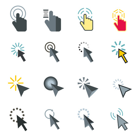 help section: Flat mouse pointer icons set. Universal mouse pointer icons to use for web and mobile UI, set of basic mouse pointer elements isolated vector illustration Illustration