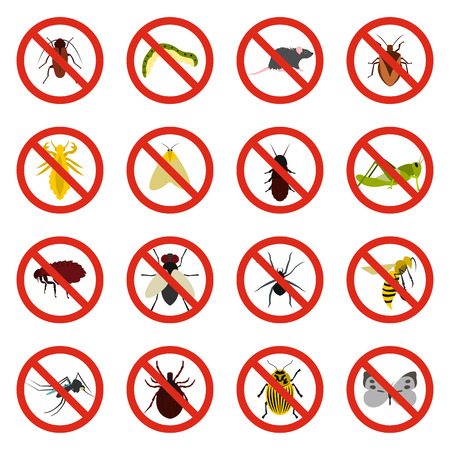 itch: Flat no insect sign icons set. Universal no insect sign icons to use for web and mobile UI, set of basic no insect sign elements isolated vector illustration