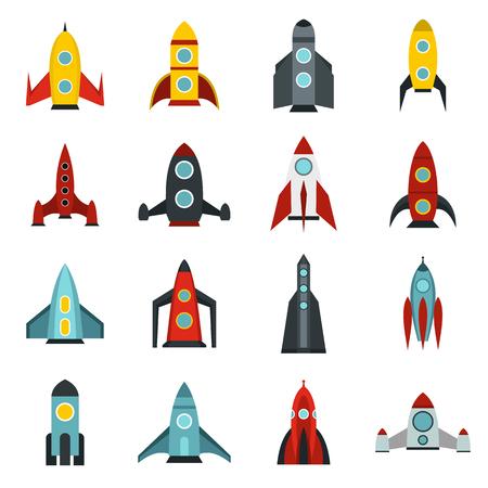 Flat rocket icons set. Universal rocket icons to use for web and mobile UI, set of basic rocket elements isolated vector illustration Illustration