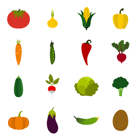 Flat vegetables icons set. Universal vegetables icons to use for web and mobile UI, set of basic vegetables elements isolated vector illustration 向量圖像