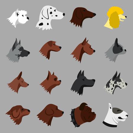 beg: Flat dog icons set. Universal dog icons to use for web and mobile UI, set of basic dog elements isolated vector illustration