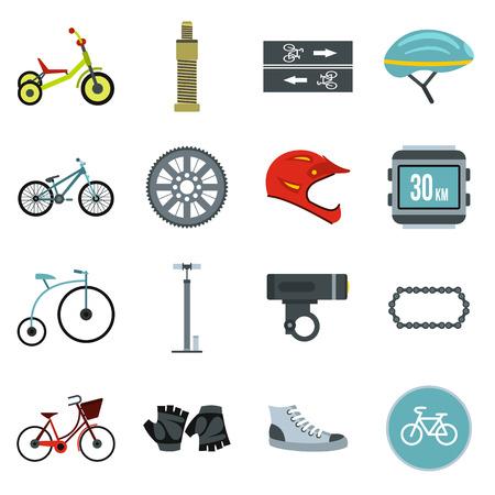 short break: Flat biking icons set. Universal biking icons to use for web and mobile UI, set of basic biking elements isolated vector illustration Illustration