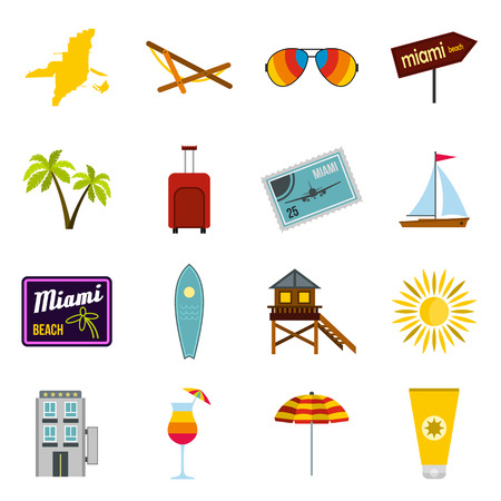 miami south beach: Flat Miami icons set. Universal Miami icons to use for web and mobile UI, set of basic Miami elements isolated vector illustration