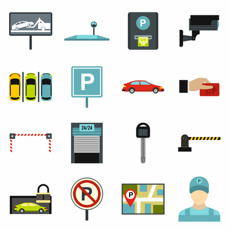 warden: Flat car parking icons set. Universal car parking icons to use for web and mobile UI, set of basic car parking elements isolated vector illustration
