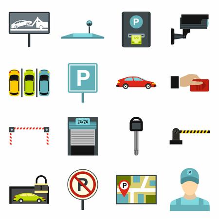 Set di icone per parcheggio auto. Icone universali di parcheggio auto da utilizzare per UI web e mobile, set di elementi di parcheggio di base elemento isolato illustrazione vettoriale Vettoriali