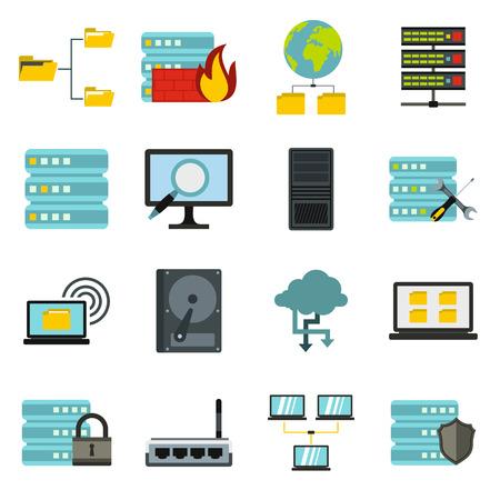 Appartement grandes icônes de données définies. grandes icônes de données universelles à utiliser pour le Web et l'interface utilisateur mobile, un ensemble de grands éléments de données de base isolées illustration vectorielle