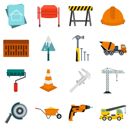 constraction: Flat architecture icons set. Universal architecture icons to use for web and mobile UI, set of basic architecture elements isolated vector illustration