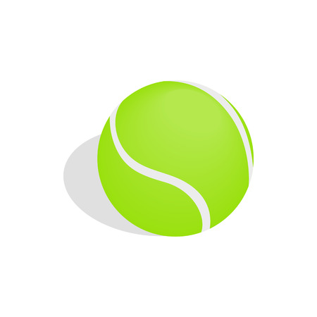 tennisball: Green tennis ball icon in isometric 3d style isolated on white background Illustration