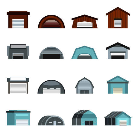 hangar: Flat hangar icons set. Universal hangar icons to use for web and mobile UI, set of basic hangar elements isolated vector illustration
