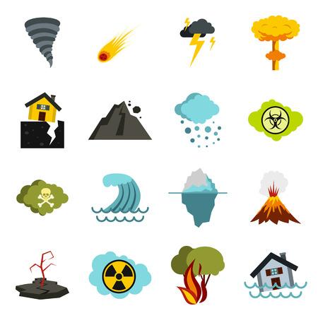 Iconos de desastres naturales planas. iconos universales de desastres naturales a utilizar para la web y la interfaz de usuario móvil, un conjunto de elementos básicos de desastres naturales aislados ilustración vectorial