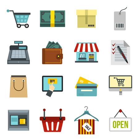 shoppers: Flat shopping icons set. Universal shopping icons to use for web and mobile UI, set of basic shopping elements isolated vector illustration