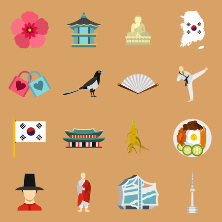 south asian: Flat South Korea icons set. Universal South Korea icons to use for web and mobile UI, set of basic South Korea elements isolated vector illustration