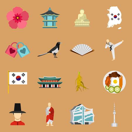 Flat South Korea icons set. Universal South Korea icons to use for web and mobile UI, set of basic South Korea elements isolated vector illustration