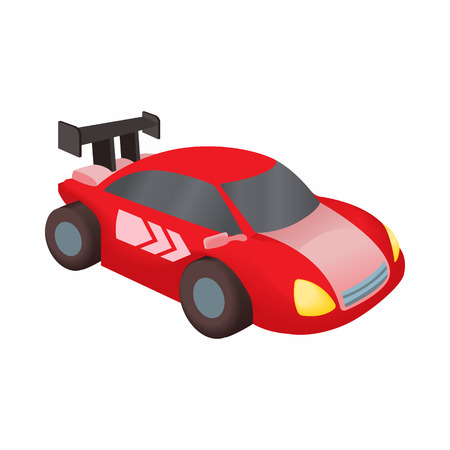 spoiler: Red race car icon in cartoon style isolated on white background. Machine symbol