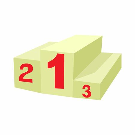 rewarding: Prize podium icon in cartoon style isolated on white background. Rewarding symbol